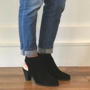 Black Chocolat Blu Stacked Cone Heel Bootie